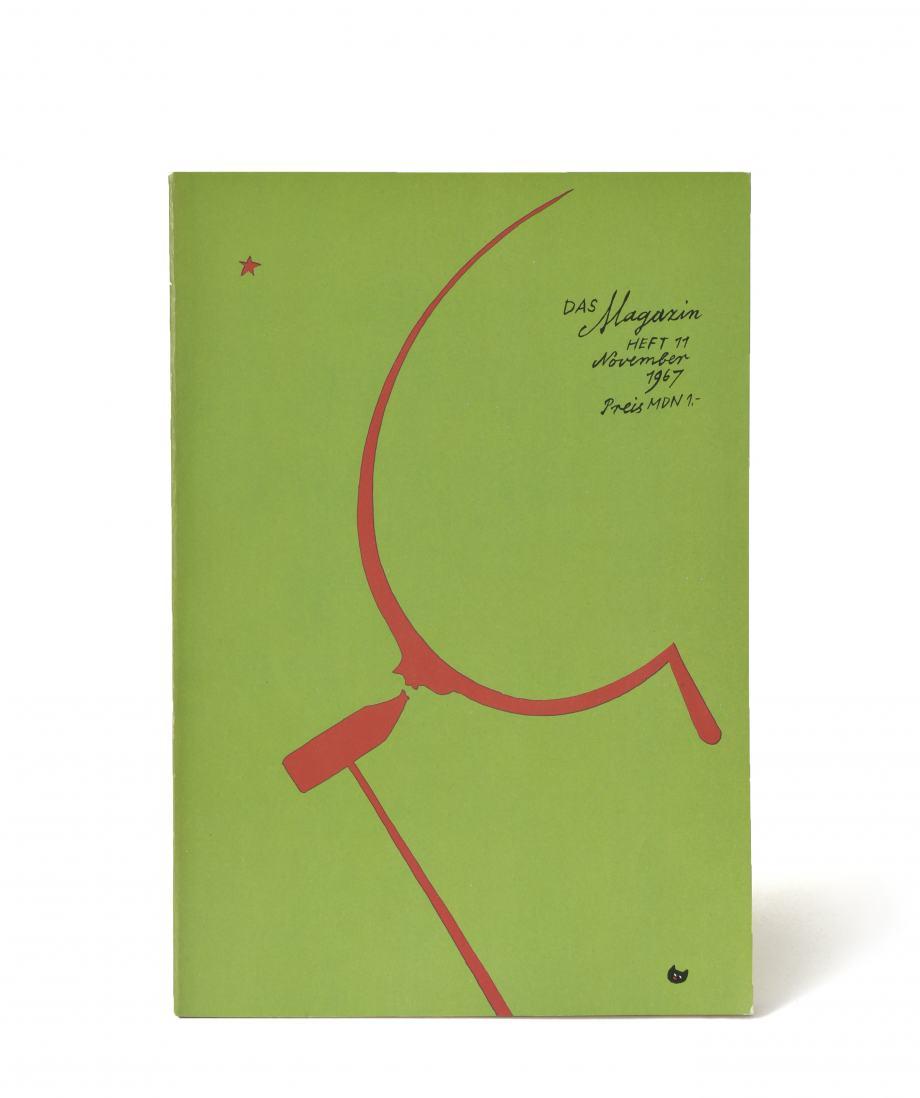 """Titelbild der Zeitschrift """"Das Magazin"""", grüne Fläche mit dünner Sichel und einem von hinten daran schlagenden Hammer in rot"""