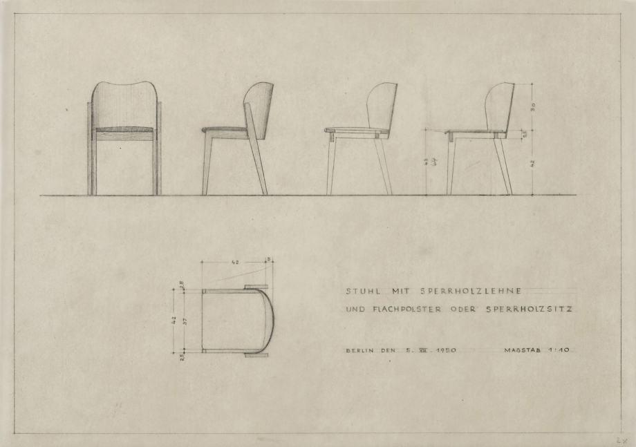 Herbert Hirche, Sperrholzstuhl, Entwurf Deutsche Industrieausstellung 1950, Entwurfszeichnung, Foto: Armin Herrmann.