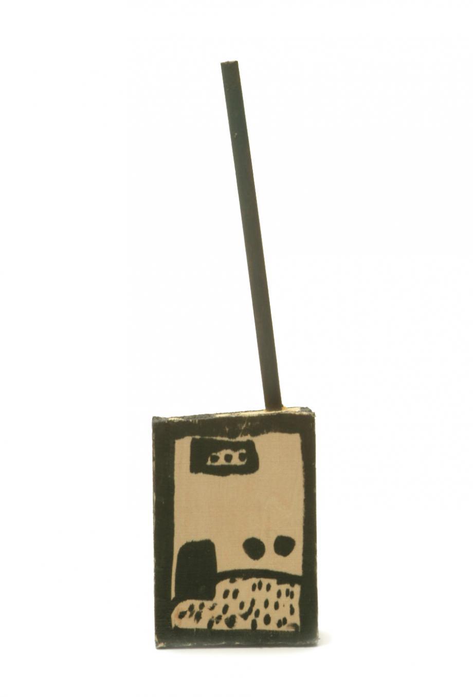 Sammlungsobjekt selbstgebautes Walkie-Talkie aus Holz und Kunststoff