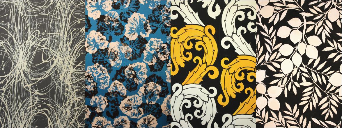 Stoffmustersammlung, verschiedene Designs, Schwarz Weiß
