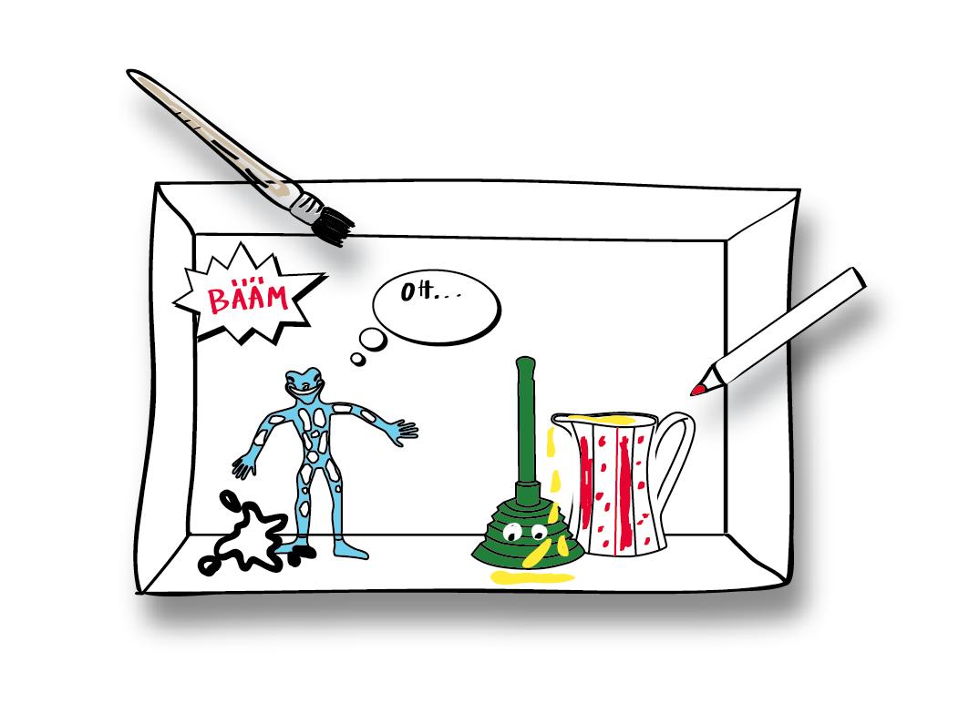 Film-Still, gezeichnete Box mit verschiedenen Inhalten, darunter ein Stift, ein Pinsel und die Figur eines blauen Salamanders