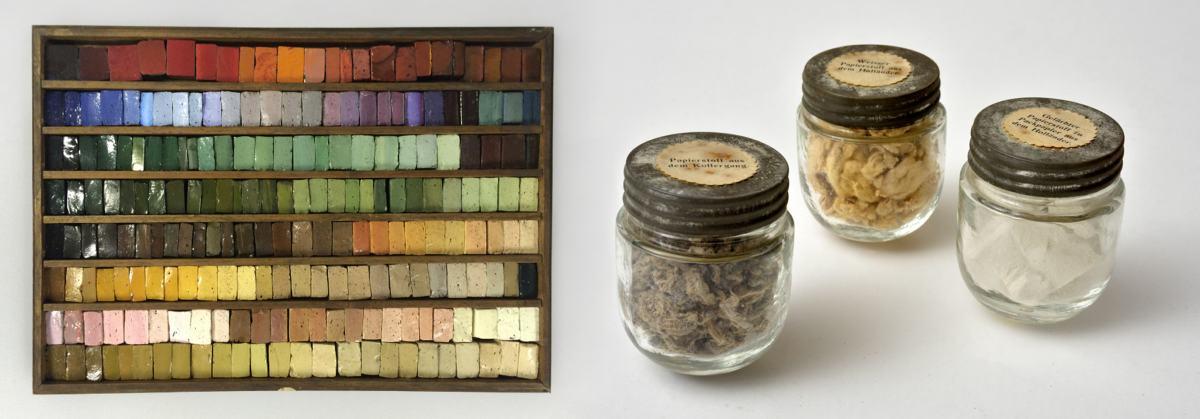 Mailänder Mosaikkasten und Gläser mit Papierstoff nebeneinander