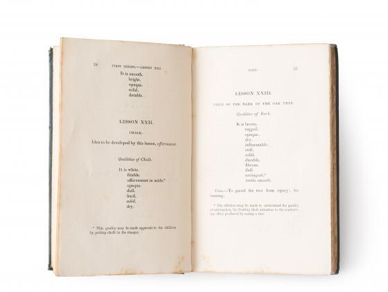 "Publikation ""Lessons on Objects"" (Elizabeth Mayo), aufgeschlagenes Buch mit grünem Einband"