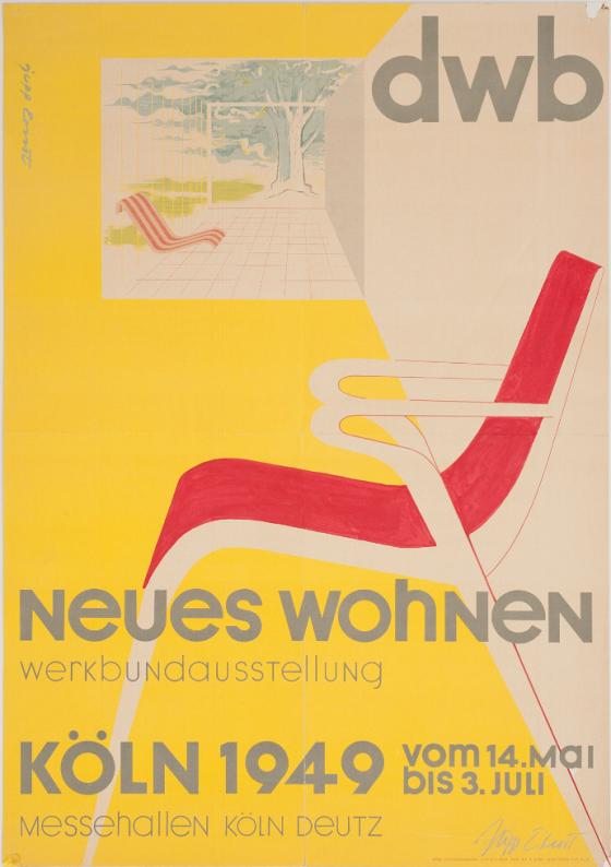 """Plakat zur Werkbundausstellung """"neues wohnen"""", Köln 1949, Gestaltung: Jupp Ernst."""