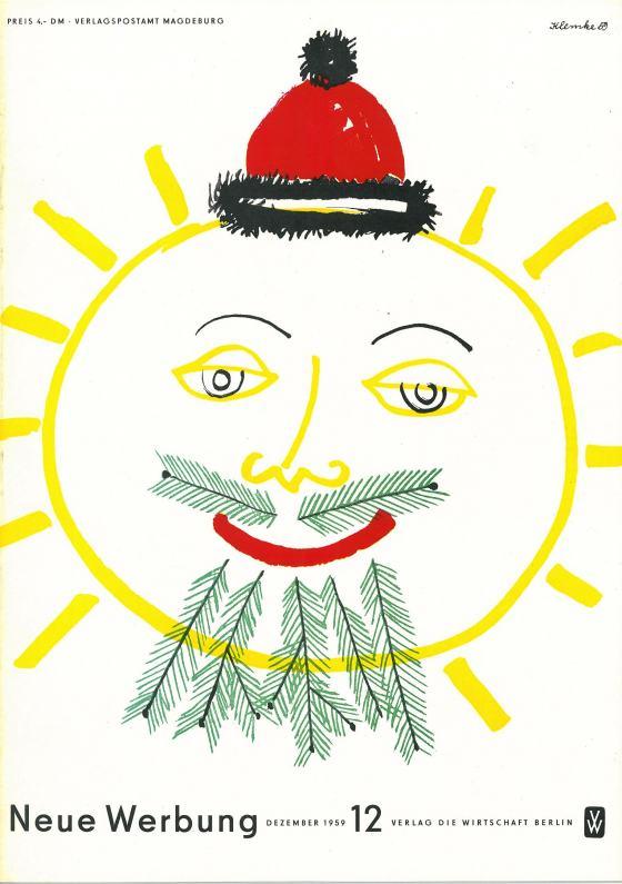 Strichzeichnung einer gelben Sonne mit Gesicht roter Bommelmütze, sowie Bart aus grünen Tannenzweigen. Entwerfer: Werner Klemke