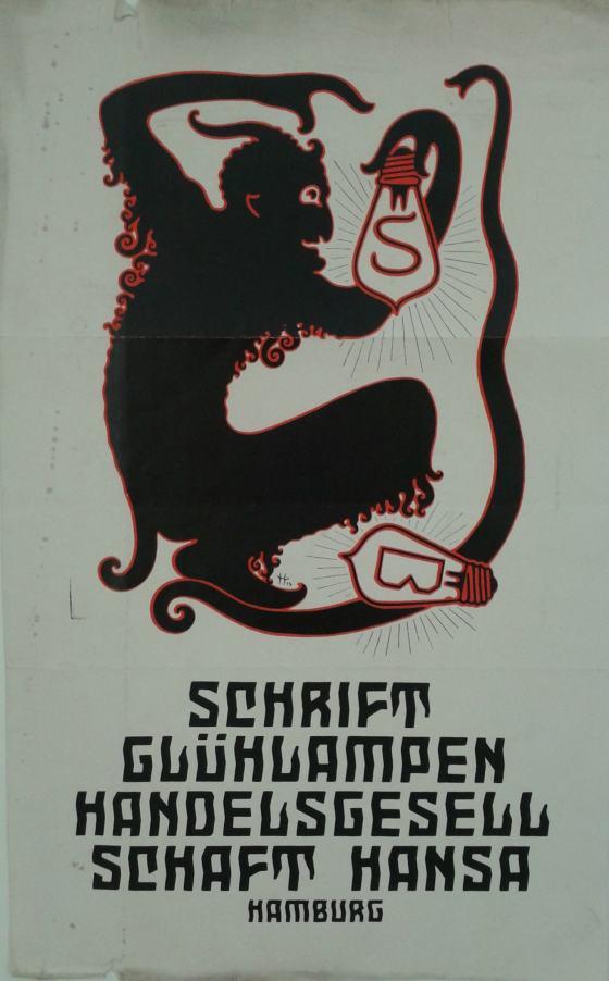 Schwarze Silhouette einer Teufelsgestalt mit Hörnern und krauser Körperbehaarung, eine Glühlampe mit Buchstabe haltend