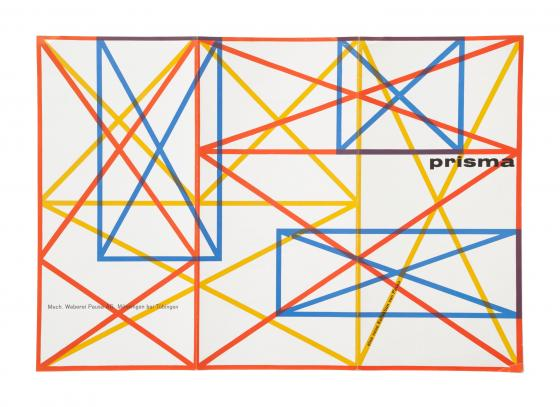 Abstrakte Grafik aus kreuzenden Formen und Strichen in Blau, Rot und Gelb vor weißem Hintergrund. Titel: Prisma