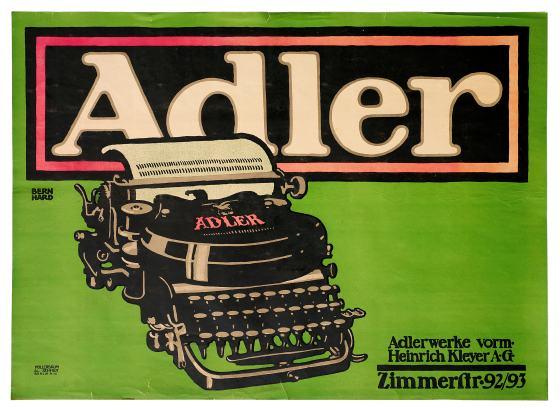 """Plakat der Firma """"Adler"""" von Lucian Bernhard, 1912"""